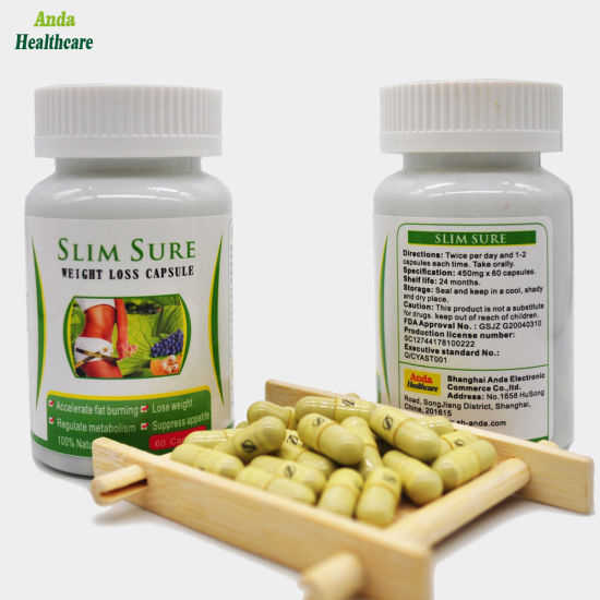 GMP Certified Chinese Health Food Natural Plant Extract Slimsure Brand  Weight Loss Capsule 100% Effective & Safe Natural Slimming Capsule
