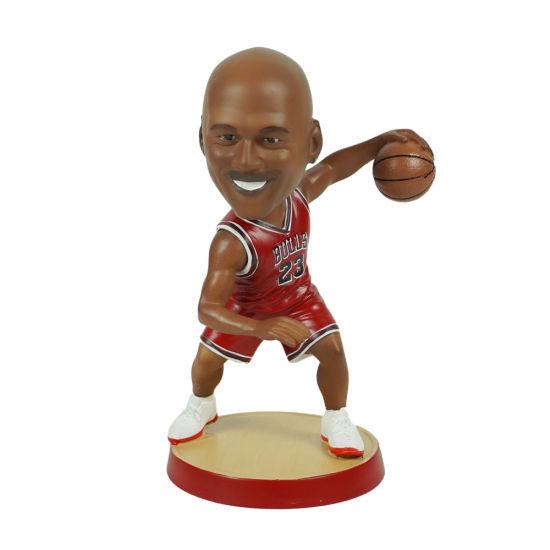 18 Cm Polyresin NBA Baller Jordan Action Figure Bobble Head with Round Base