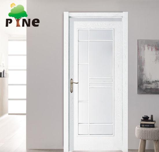 New Design Glass Plain Wooden Veneer Paint Door
