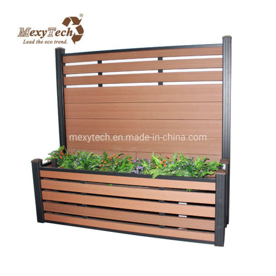 China Foshan Mecofence Wpc Garden Fence With Flower Planter Box