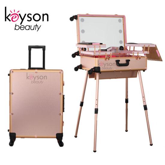 Rose Gold Custom Portable Rolling Makeup Studio Case with Lights