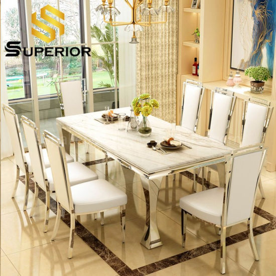 China Home Dining Furniture White Marble Dinner Table For 8 Chairs China Dining Room Table Home Furniture Set