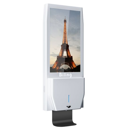 Wall Mounted Digital Signage Advrtising Screens with Auto Hand Sanitizer Dispenser