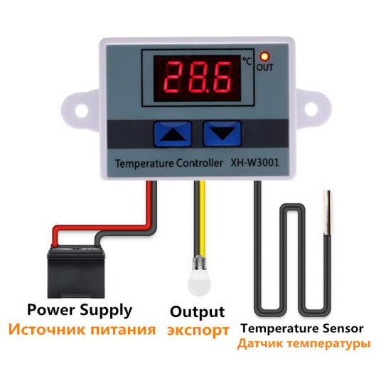 Digital LED Temperature Controller Xh-W3001 for Incubator Cooling Heating Switch Thermostat Ntc Sensor10A 12V 24V 220V AC