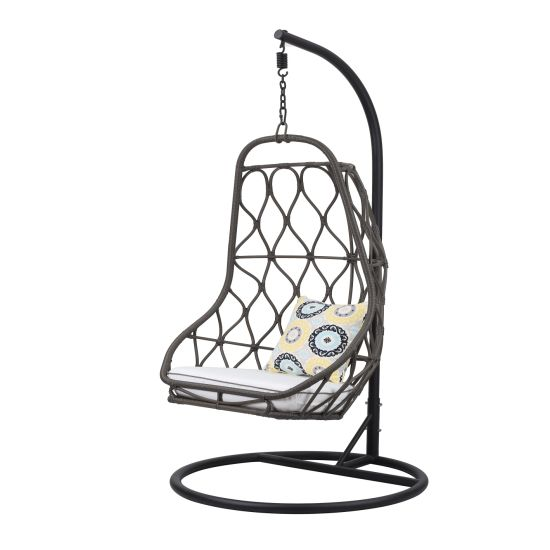 Modern New Design Outdoor Garden Furniture Wicker Rattan Hanging Swing Chair with Stand