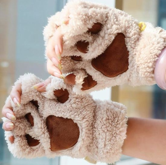 High Quality Custom Design Womens Fingerless Cat Paw Gloves Winter Faux Fur Cute Kitten Mittens