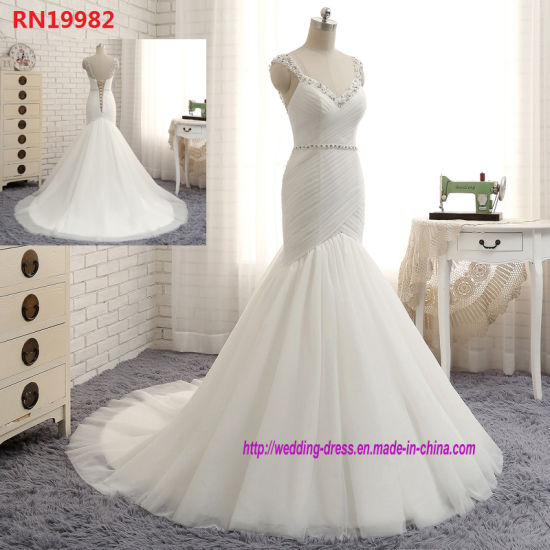 New Arrival Sexy Deep V-Neck Beading Crystals Sashes Backless Mermaid Wedding Dresses