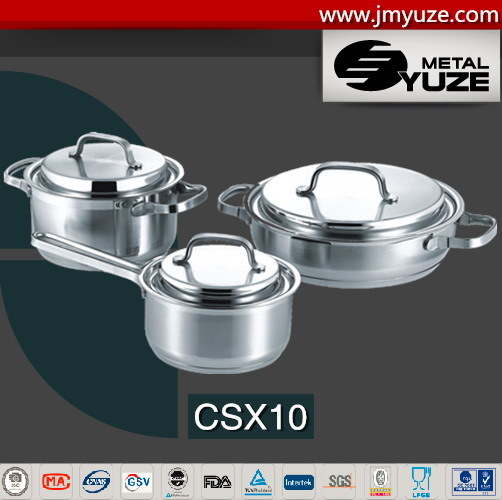 6PCS Stainless Steel Cookware Set with Lid, Impact Bottom for Home Appliance, Kitchenware