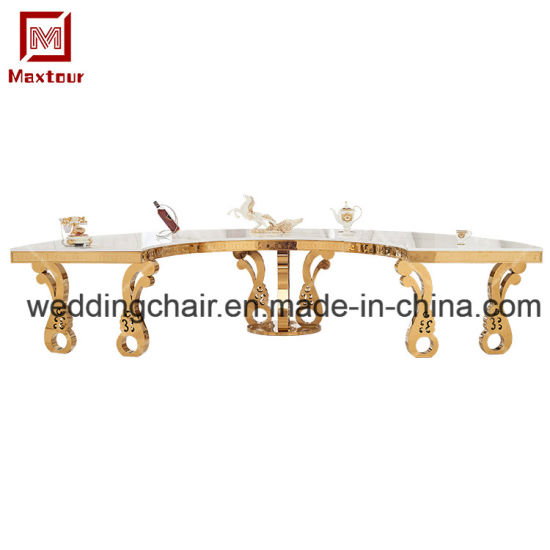 Superb China Dubai Dining Tables Stainless Steel Half Circle Ncnpc Chair Design For Home Ncnpcorg