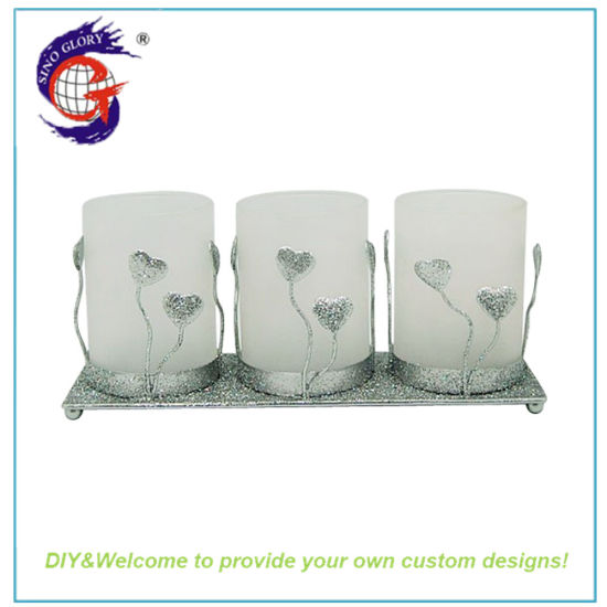Metal Glass Home Decoration Iron Candle Holder