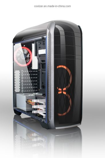Black Tower Case ATX PC Case with ABS and acrylic Front Panel and Tempered Glass Window