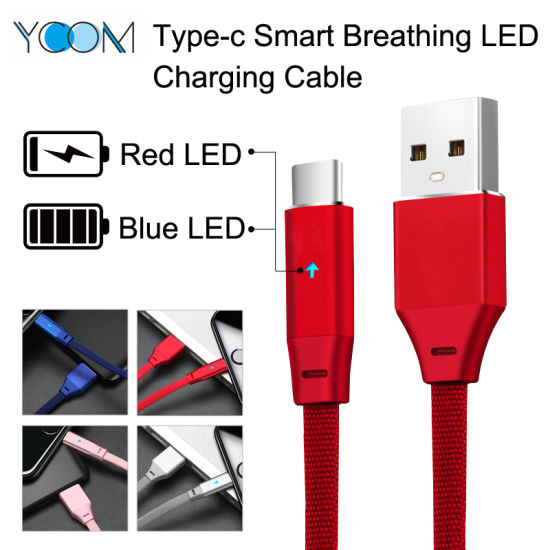 Breathing Light Fast Charging USB Type-C Mobile Data Cable