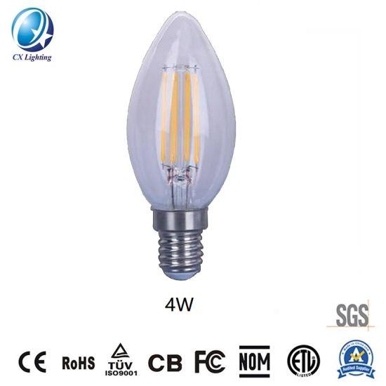 LED Candle Light Bulb C35 Ceramic Filament Lamp 4W Clear 450lm E27 B22 E14