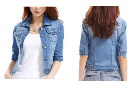 Half Sleeve Women Demin Jacket Fashion Women Apparel (JC4051)