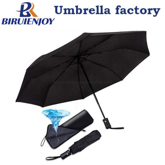 Compact Automatic Folding Umbrella Windproof &Waterproof Lightweight Travel Umbrella with Black Water-Absorbing Storage Bag