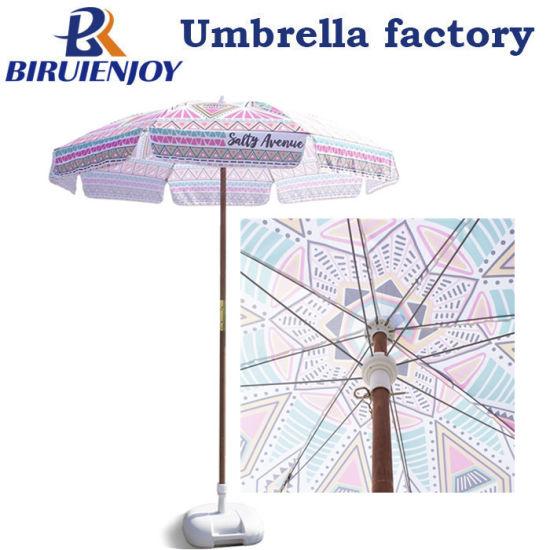 Seashore Camping Picnic Sand Patio Portable Wooden Pole Beach Umbrella