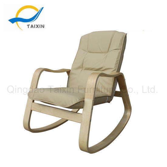 Beige Pu Fabric Round Rocking Chair Bedroom Furniture