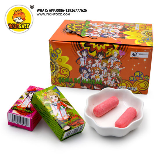 Chalk Shape Fruity Bubble Gum Cartoon Girl Design