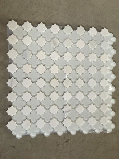 Thos White Marble Mixed Gl Water Jet Mosaic For Wall Tile