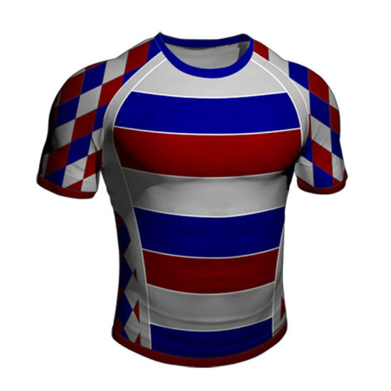 347cfc9120 China Custom Stripe Rugby Shirt with Sublimated Logos - China Rugby ...