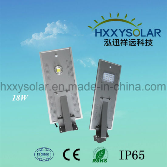 18W High Lumen Brightness All in One Solar LED Street Light