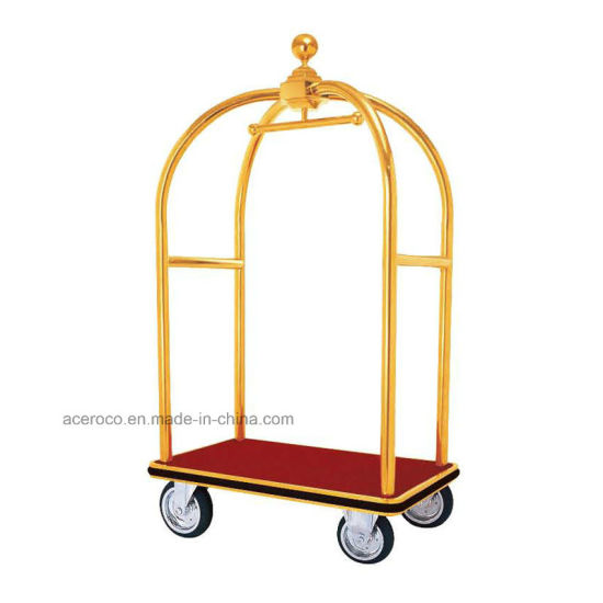 Dome Head Stainless Steel Hotel Luggage Baggage Service Cart (HE2)