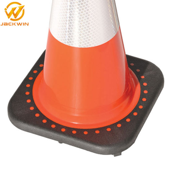 "28"" Fluorescent Orange PVC Traffic Cone with Black Base pictures & photos"