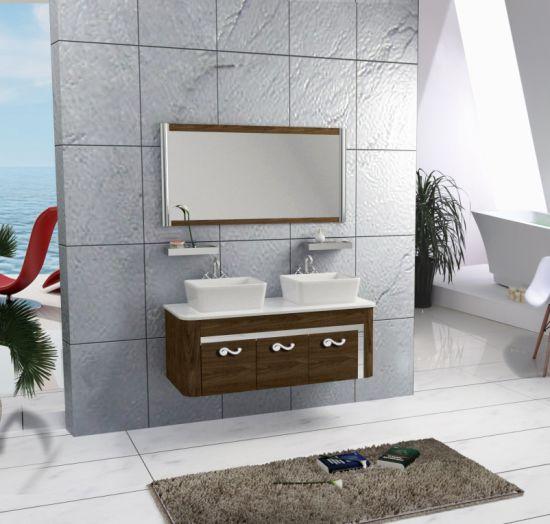 Wooden Color Double Sink 1200 mm Bathroom Furniture Cabinet