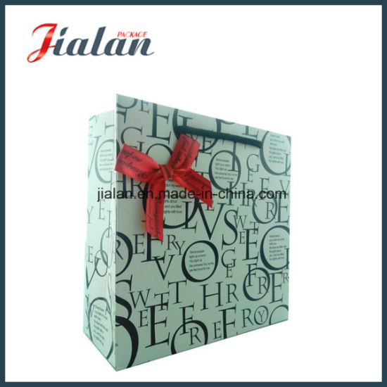 White Color with Black Letters Hand Shopping Gift Paper Bag