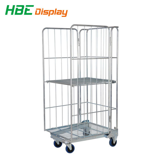 China Warehouse Wire Mesh Container Roll Cage Trolley