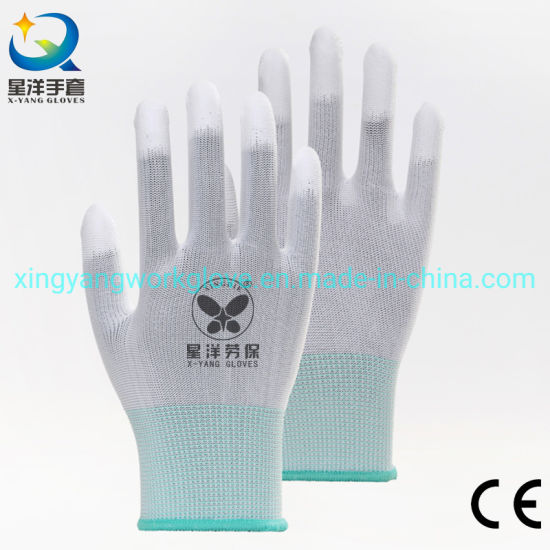 13G Polyester Liner with White PU Finger Coated Safety Work Gloves with Ce Certificated
