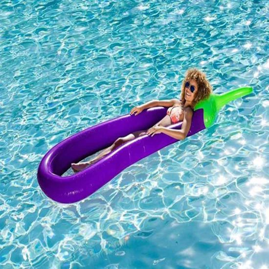 PVC Or TPU Inflatable Eggplant Air Mattress Lounger With Mesh Pool Float