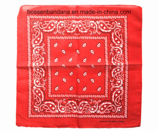 China Factory Produce Customized Logo Print Creamy White Paisley Cotton Headwrap Bandanna pictures & photos