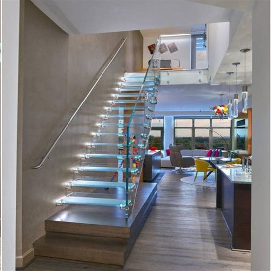 LED Light Glass Staircase With Glass Railing And Non Slip Tread