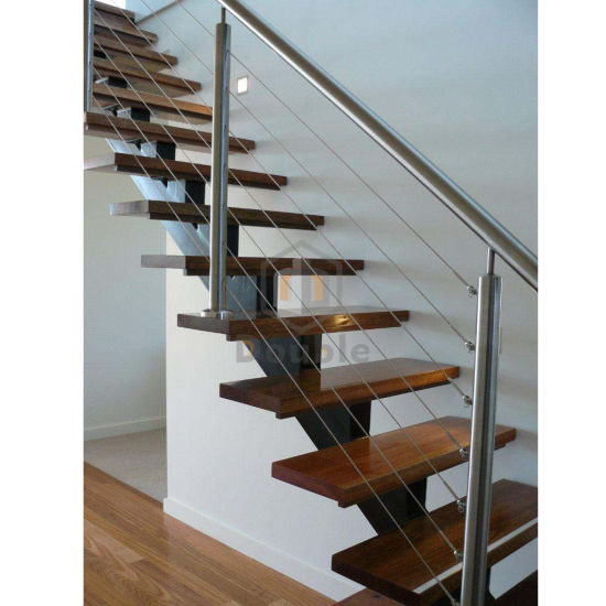 Stainless Steel Cable Railing Wood Tread Metal Stringer Staircase