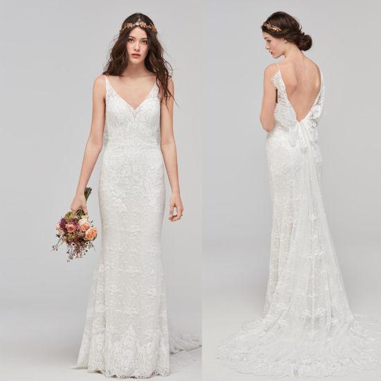 V-Neck Lace Wedding Dress 220 Beaded Sheath Garden Beach Bridal Dresses M5283