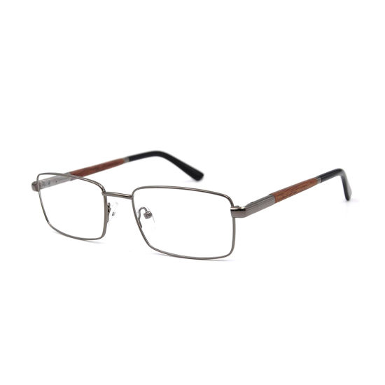 Higo Optical New Arrival Metal Spectacle Frame with Wooden Temple for Man