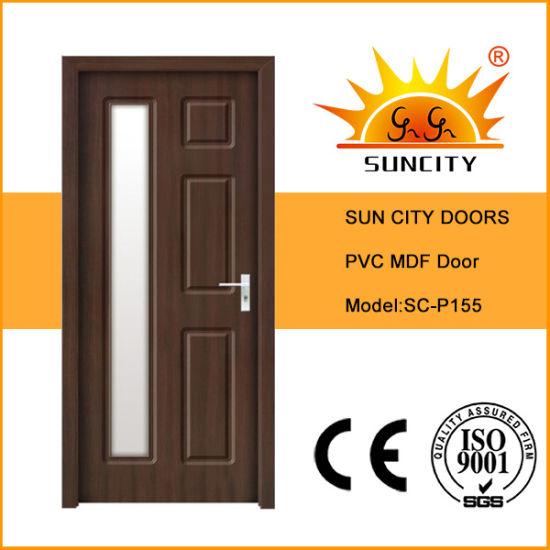 Interior Wood Veneer PVC Folding Glass Sliding Melamine WPC Doors