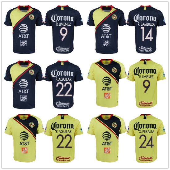best website 6a3e8 f7a68 America Soccer Sets Jersey Home Yellow Away Mexico Club Football Shirt P.  Aguilar
