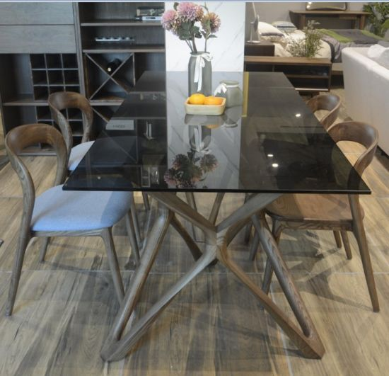 China New Nordic Design Home Furniture Rectangle Glass Top Wooden Dining Table Set China Wooden Dining Table Dining Room Table