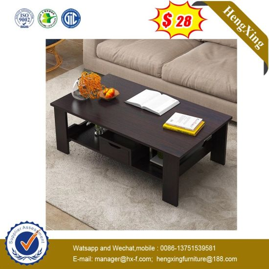Simple Design Black Color Wooden Furniture Modern Side Coffee Table