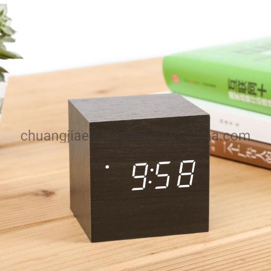 Cube Little Wooden Digital Alarm Clock With Adjustable Brightness For Home Bedroom