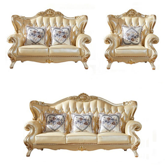 Living Room Furniture with Optional Color Antique Wood Leather Sofa