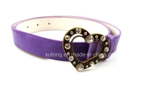 Belt Ladies Heart-Shaped Rhinestone Decorative Thin Belt Korean Fashion Casual Smooth Buckle Belts pictures & photos
