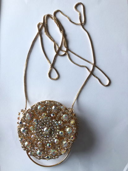 Alloy Metal Fancy Bag with Crystals Decoration
