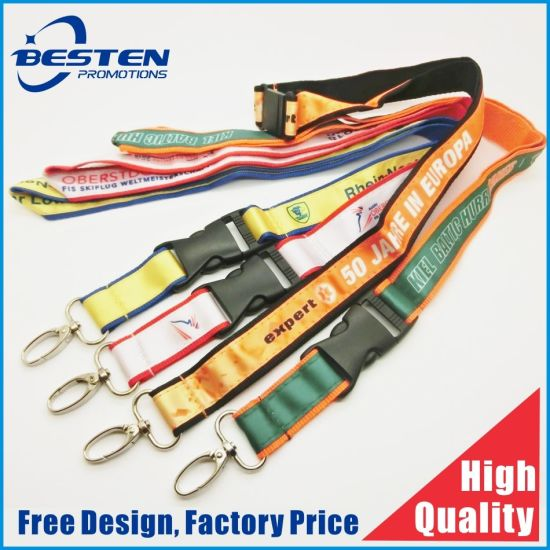 Customized Logo Club Events High Quality Double Layer Lanyard with Satin