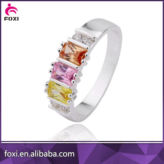 Wholesale Plated 18k Gold or White Gold CZ Jewelry Rings pictures & photos