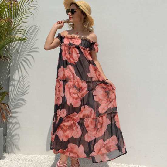 Women Summer Chiffon Rose Print Ruffled Neck Strapless Boho Maxi Long Dress pictures & photos