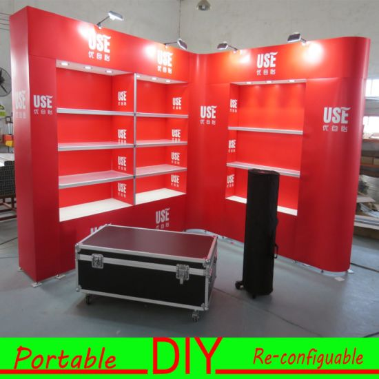 Custom Modular Portable Cosmetics Stand Trade Show Exhibition Display Booth with Shelves