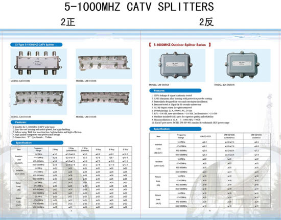 5-2400MHz 4 Way CATV Splitter (SHJ-TS8804) pictures & photos